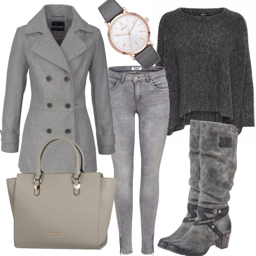 RIEKER Stiefel Grau Outfit für Damen zum Nachshoppen auf