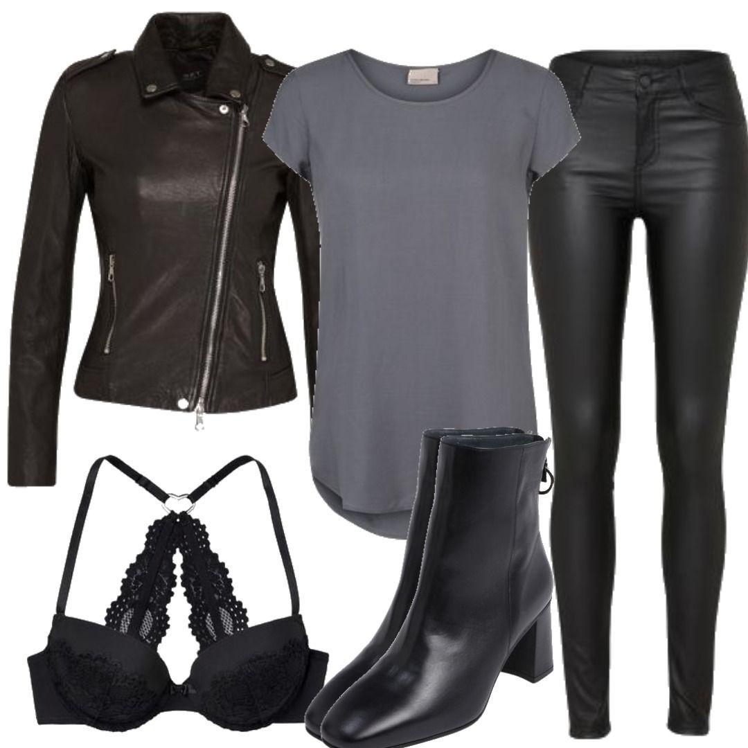 klassischer Stil größte Auswahl von 2019 bezahlbarer Preis SET Lederjacke Tyler schwarz Outfit für Damen zum ...