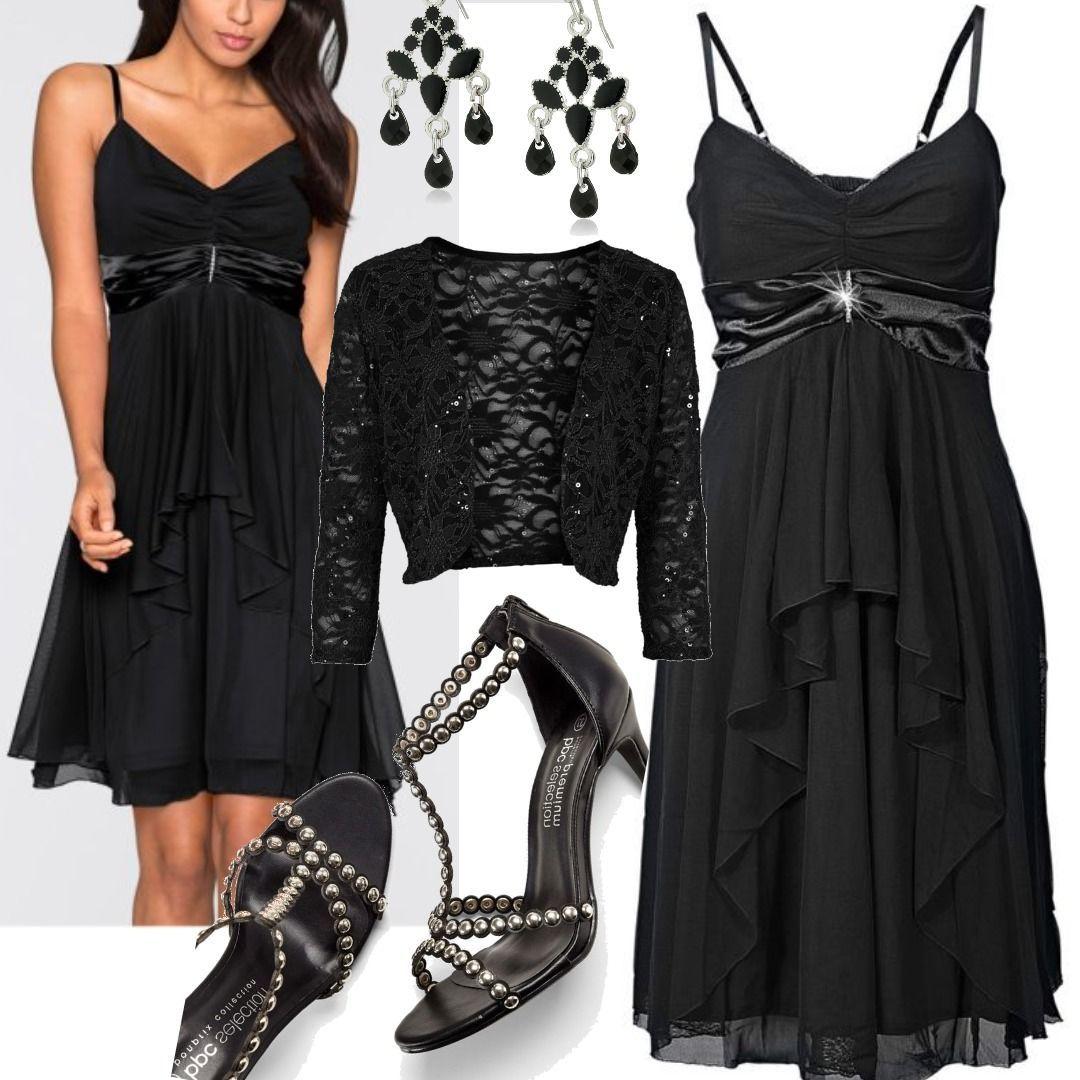 Abendkleid ohne Ärmel in schwarz (V-Ausschnitt) von bonprix für