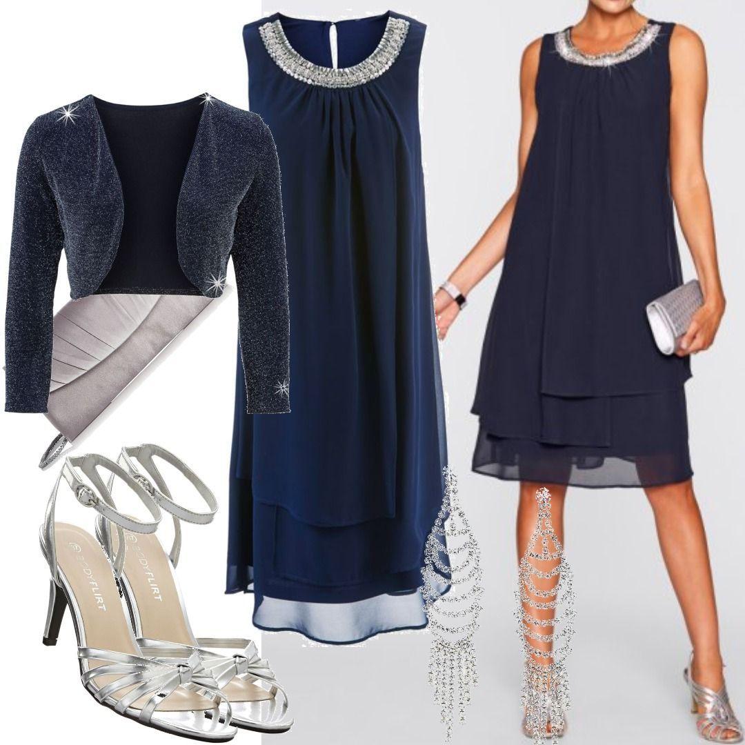 Premium Kleid mit Applikation ohne Ärmel in blau von bonprix für