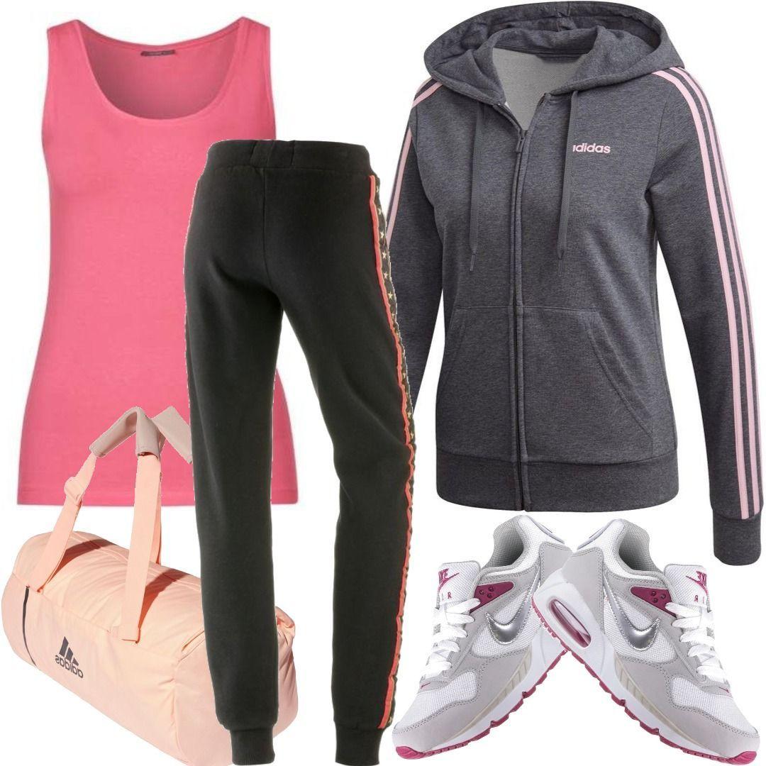 Adidas Essential 3S Full Zip Sweatjacke Outfit für Damen zum